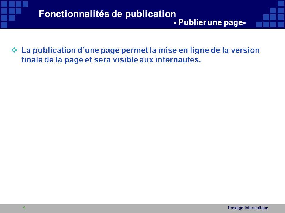 Fonctionnalités de publication