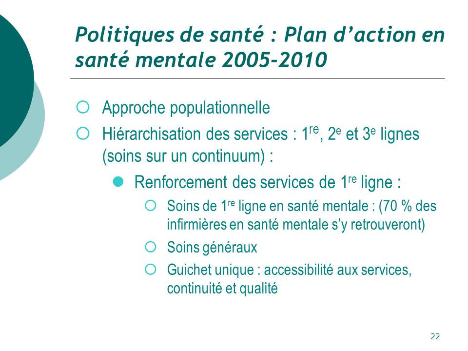 Politiques de santé : Plan d'action en santé mentale 2005-2010