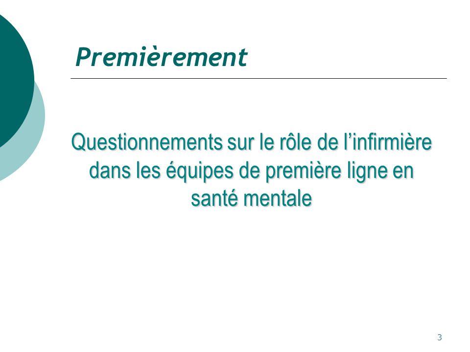 Premièrement Questionnements sur le rôle de l'infirmière dans les équipes de première ligne en santé mentale.