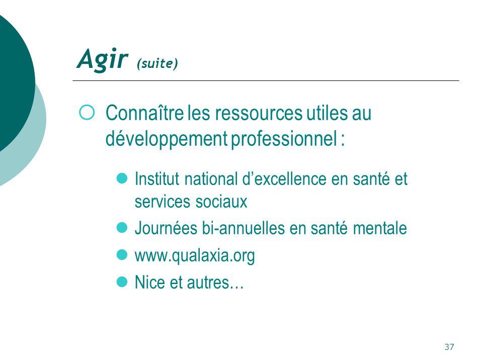 Agir (suite) Connaître les ressources utiles au développement professionnel : Institut national d'excellence en santé et services sociaux.