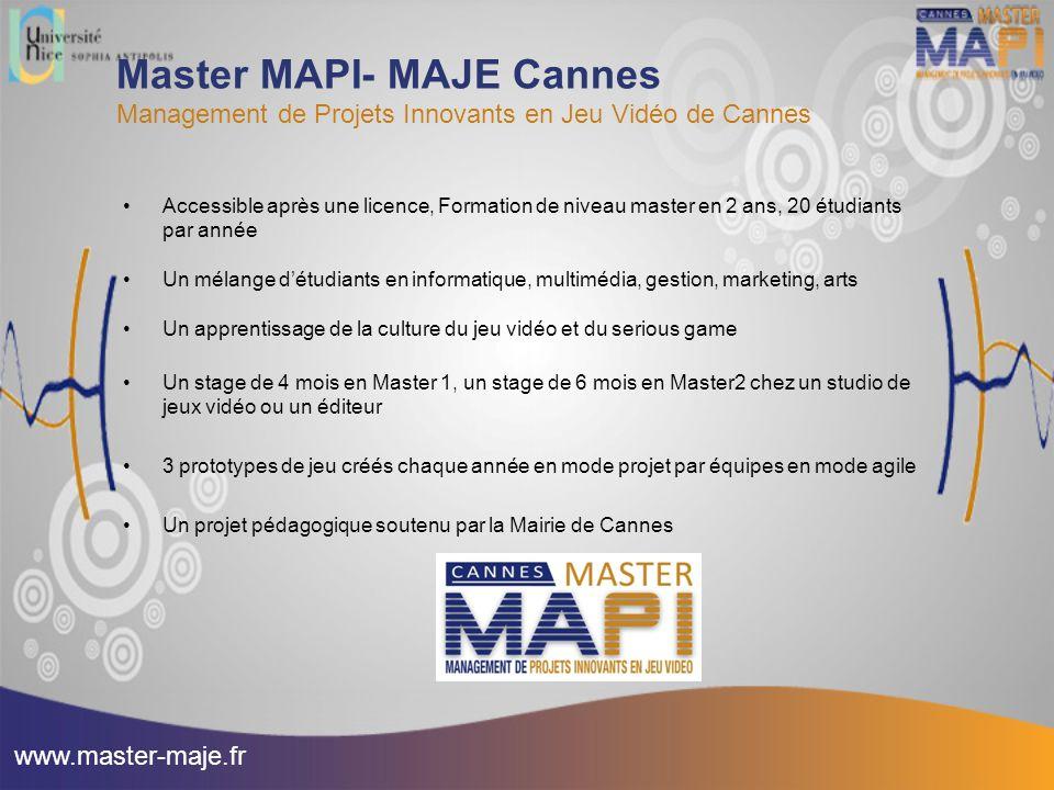 Master MAPI- MAJE Cannes Management de Projets Innovants en Jeu Vidéo de Cannes