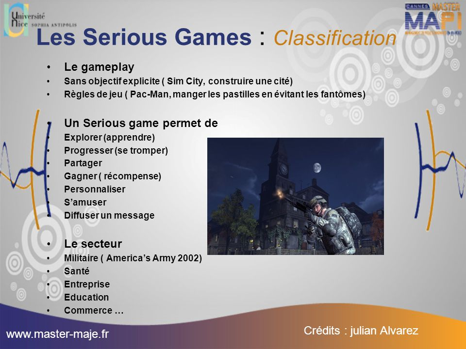 Les Serious Games : Classification