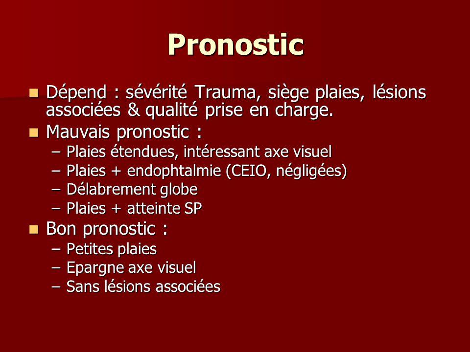 Pronostic Dépend : sévérité Trauma, siège plaies, lésions associées & qualité prise en charge. Mauvais pronostic :