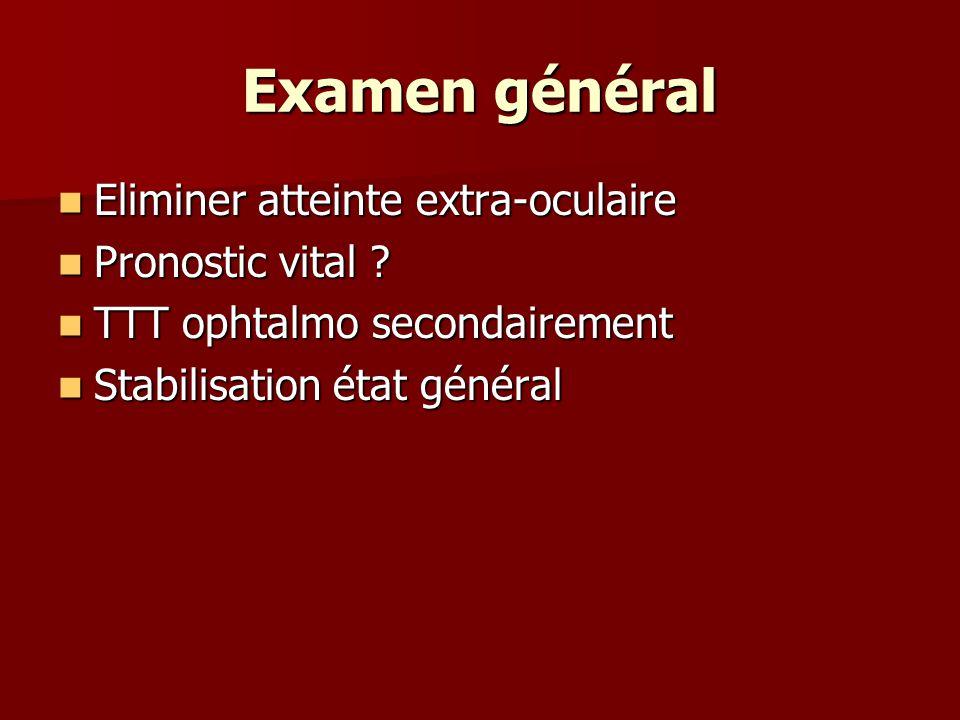 Examen général Eliminer atteinte extra-oculaire Pronostic vital