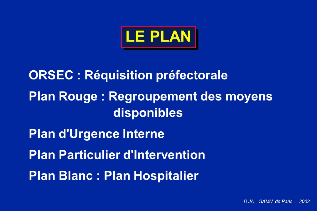 LE PLAN ORSEC : Réquisition préfectorale