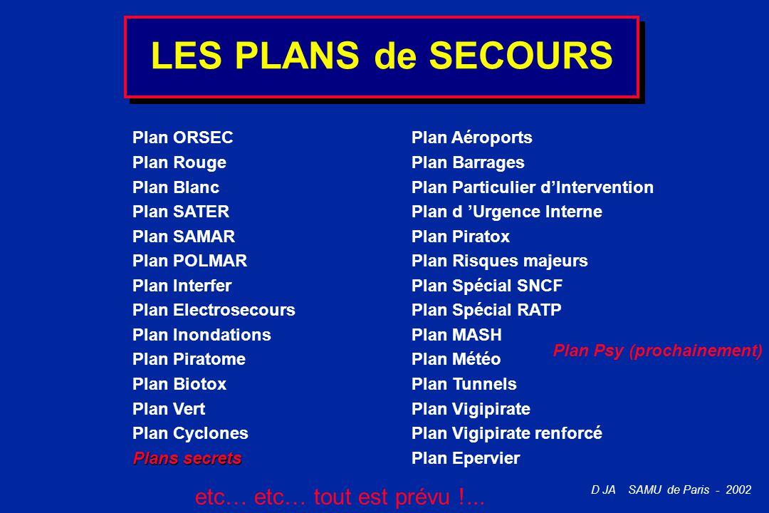 LES PLANS de SECOURS etc… etc… tout est prévu !... Plan ORSEC