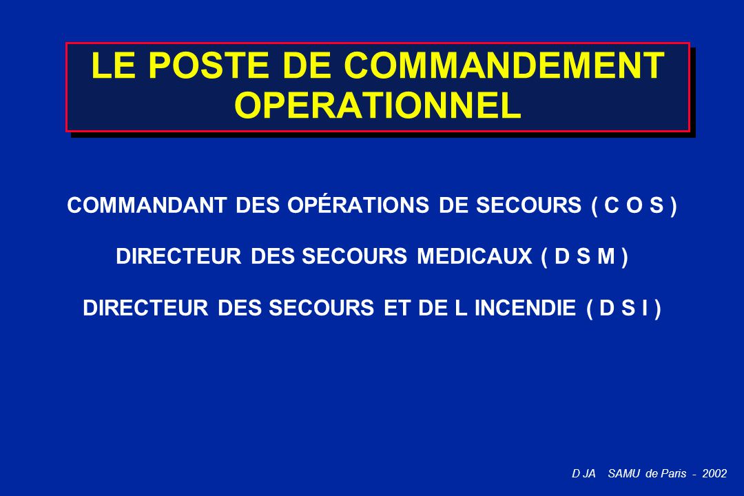 LE POSTE DE COMMANDEMENT OPERATIONNEL
