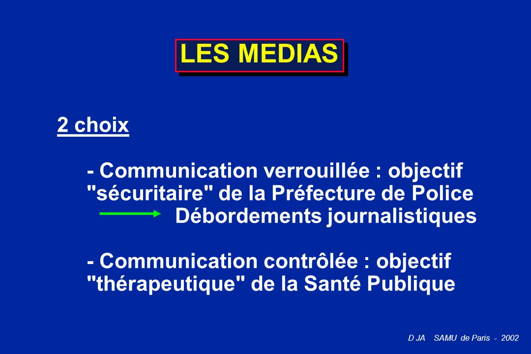 LES MEDIAS 2 choix. - Communication verrouillée : objectif sécuritaire de la Préfecture de Police.