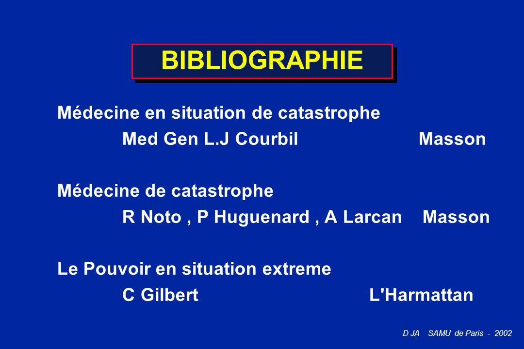 BIBLIOGRAPHIE Médecine en situation de catastrophe