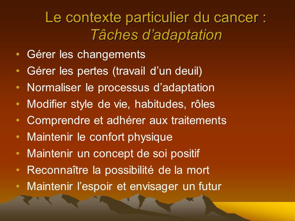 Le contexte particulier du cancer : Tâches d'adaptation
