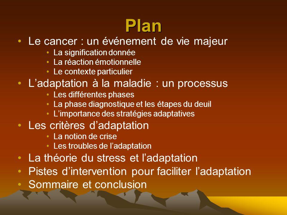Plan Le cancer : un événement de vie majeur