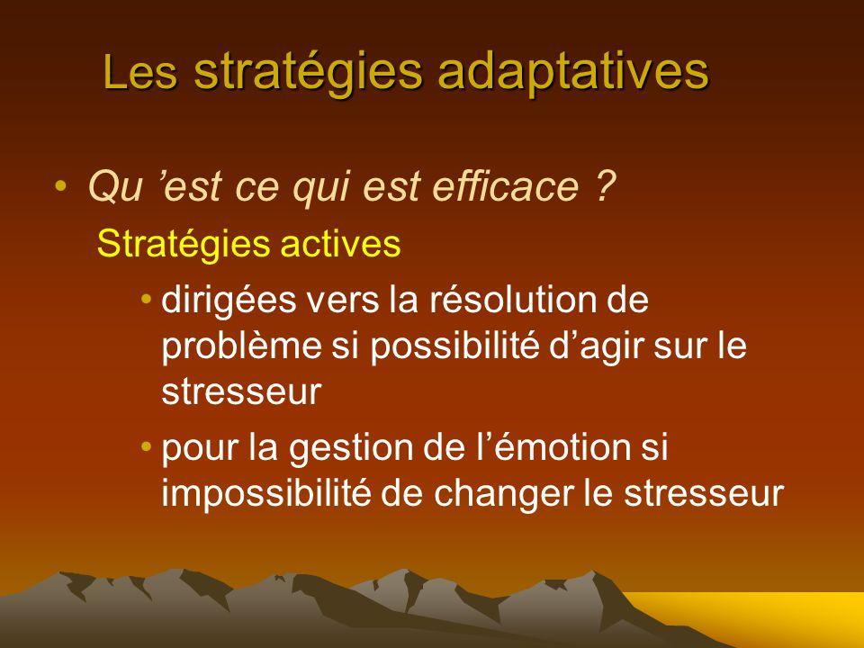 Les stratégies adaptatives