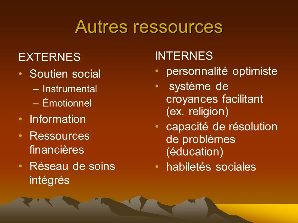 Autres ressources EXTERNES Soutien social Information