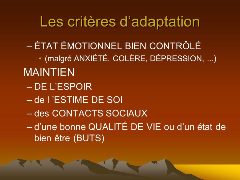 Les critères d'adaptation