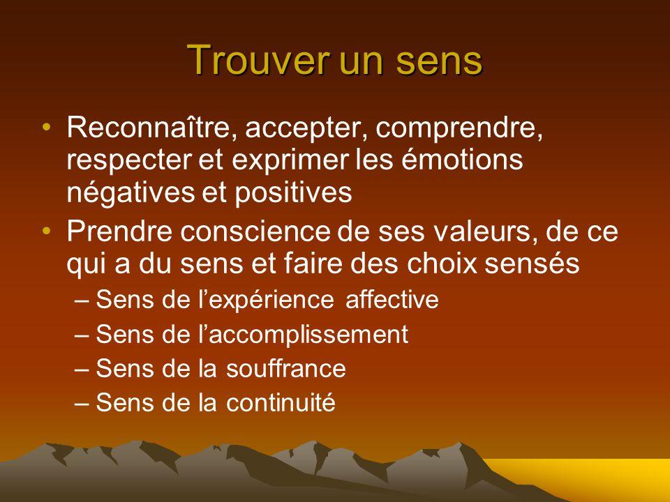 Trouver un sens Reconnaître, accepter, comprendre, respecter et exprimer les émotions négatives et positives.