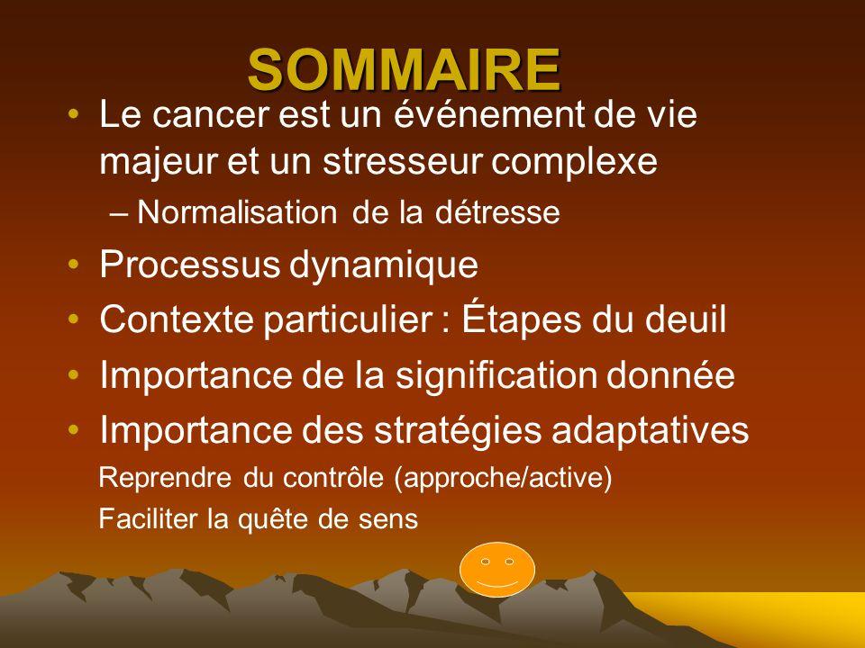 SOMMAIRE Le cancer est un événement de vie majeur et un stresseur complexe. Normalisation de la détresse.