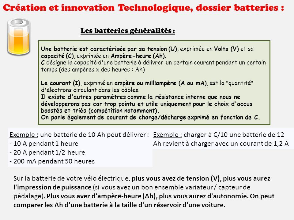 cr ation et innovation technologique dossier batteries ppt t l charger. Black Bedroom Furniture Sets. Home Design Ideas