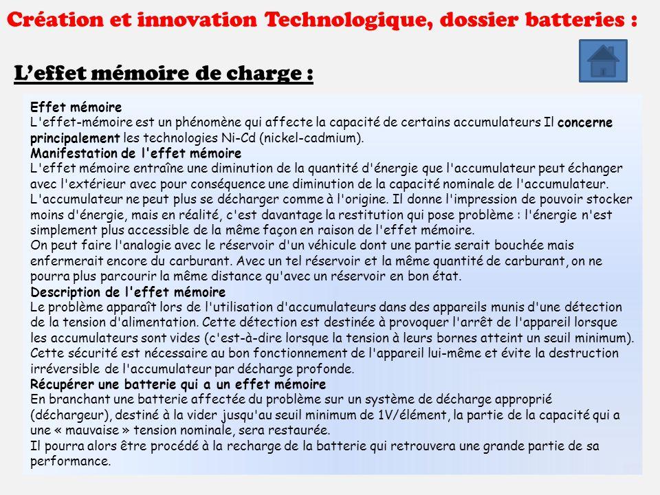 cr ation et innovation technologique dossier batteries. Black Bedroom Furniture Sets. Home Design Ideas