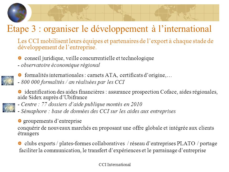 Etape 3 : organiser le développement à l'international