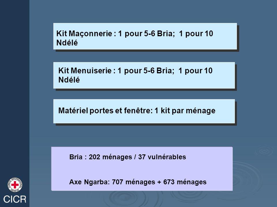 Kit Maçonnerie : 1 pour 5-6 Bria; 1 pour 10 Ndélé