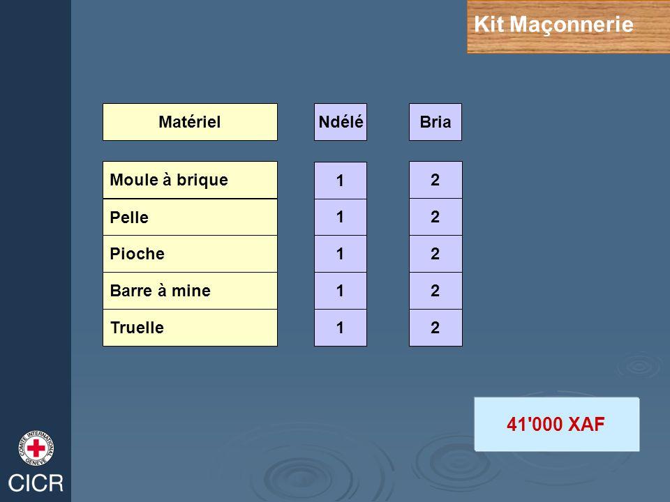Kit Maçonnerie 41 000 XAF Matériel Ndélé Bria 1 2 Moule à brique 1 2