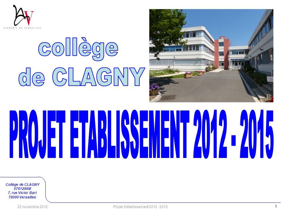 PROJET ETABLISSEMENT 2012 - 2015