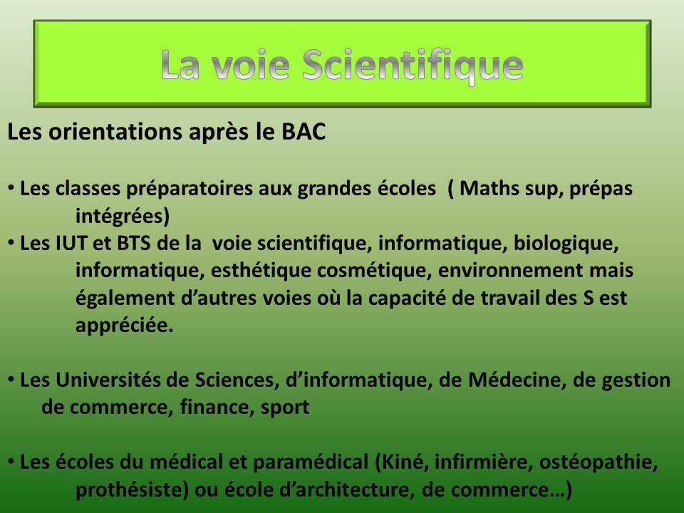 La voie Scientifique Les orientations après le BAC