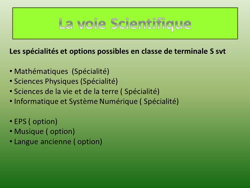 La voie Scientifique Les spécialités et options possibles en classe de terminale S svt. Mathématiques (Spécialité)