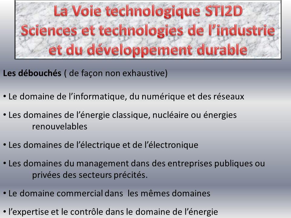 La Voie technologique STI2D Sciences et technologies de l'industrie et du développement durable