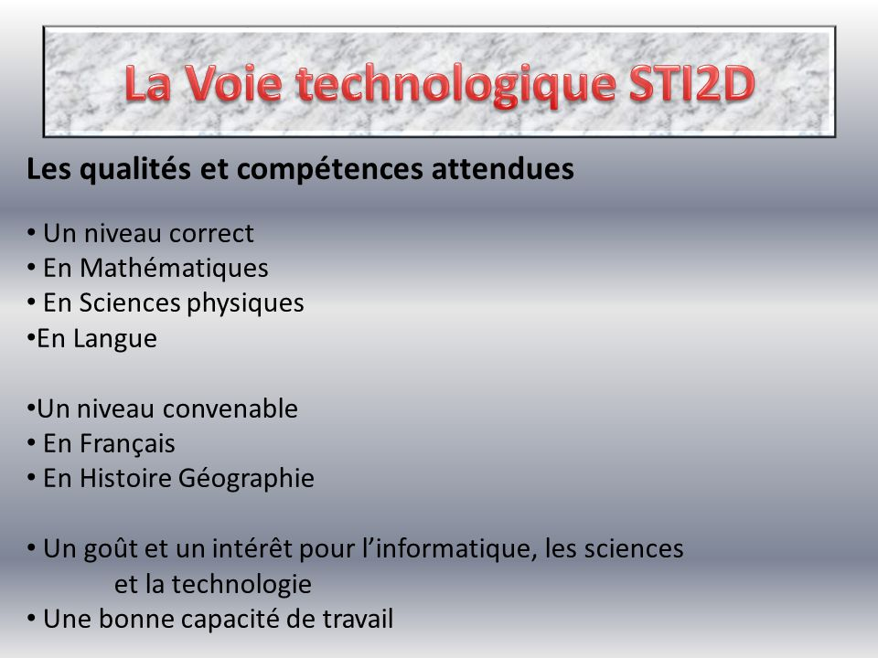 La Voie technologique STI2D