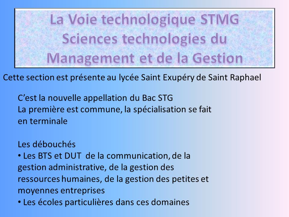 La Voie technologique STMG Sciences technologies du Management et de la Gestion