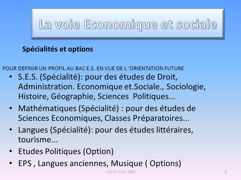 La voie Economique et sociale