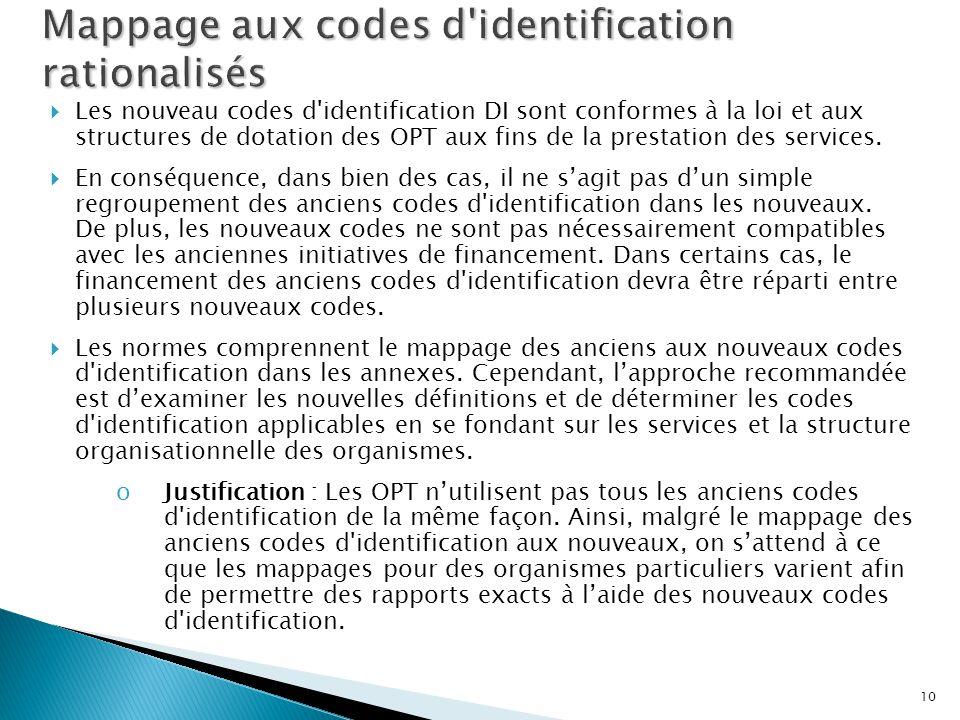 Mappage aux codes d identification rationalisés
