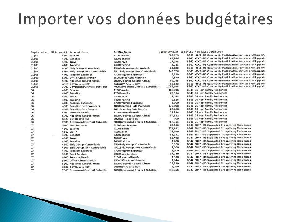 Importer vos données budgétaires