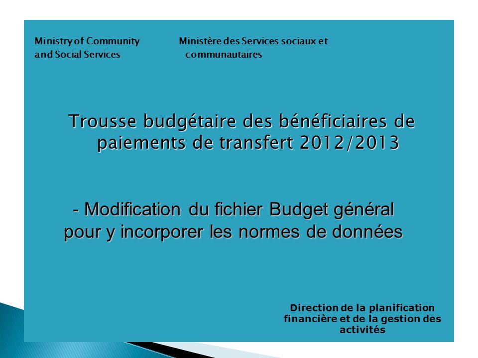 Ministry of Community Ministère des Services sociaux et