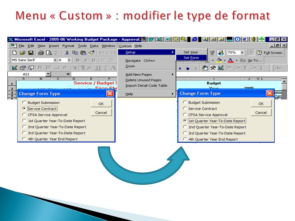 Menu « Custom » : modifier le type de format