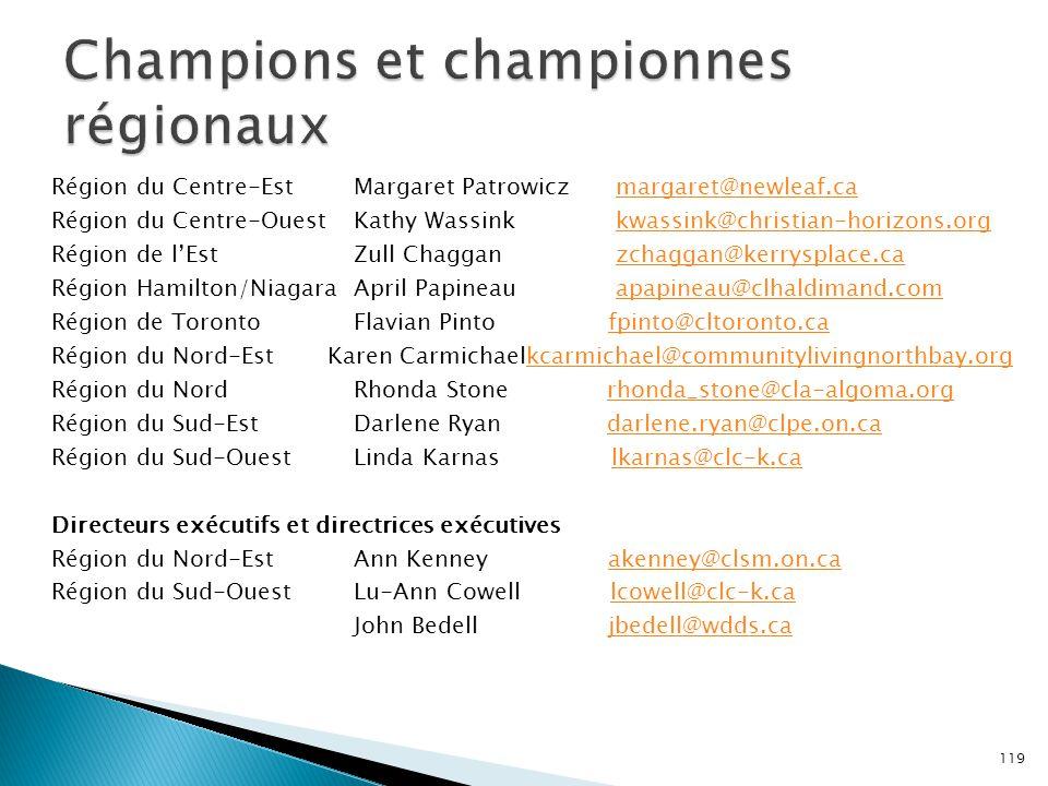 Champions et championnes régionaux