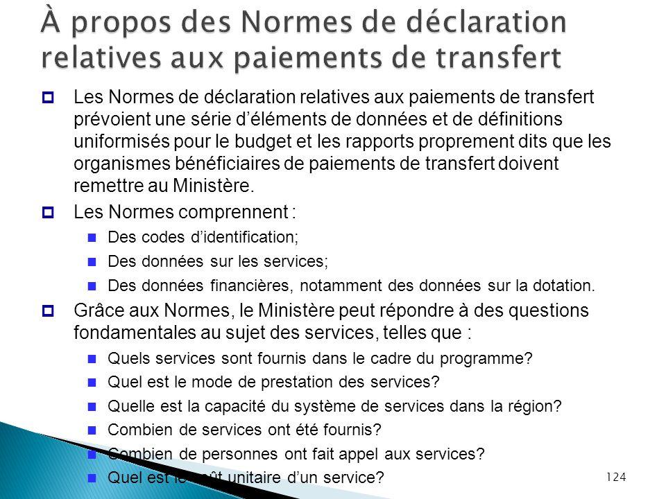 À propos des Normes de déclaration relatives aux paiements de transfert