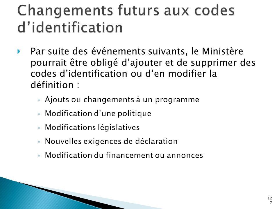 Changements futurs aux codes d'identification