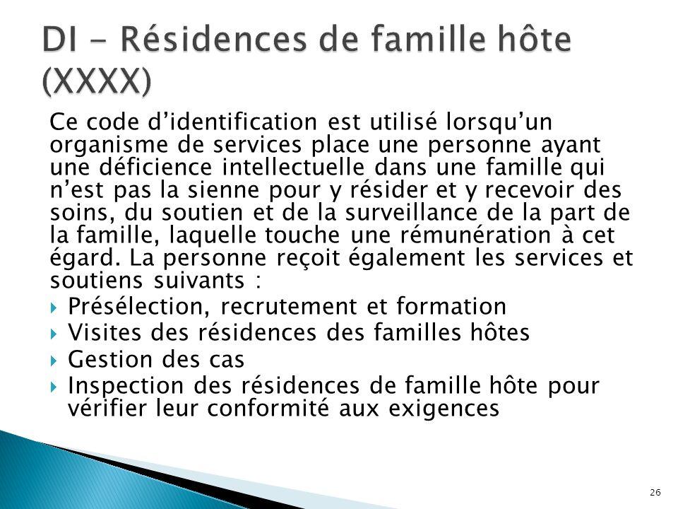 DI - Résidences de famille hôte (XXXX)