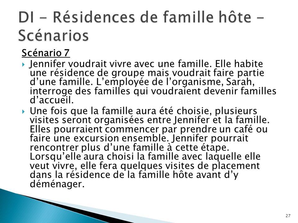 DI - Résidences de famille hôte - Scénarios