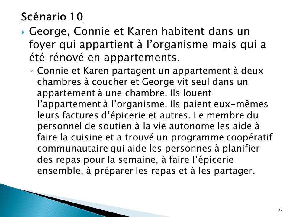 Scénario 10 George, Connie et Karen habitent dans un foyer qui appartient à l'organisme mais qui a été rénové en appartements.