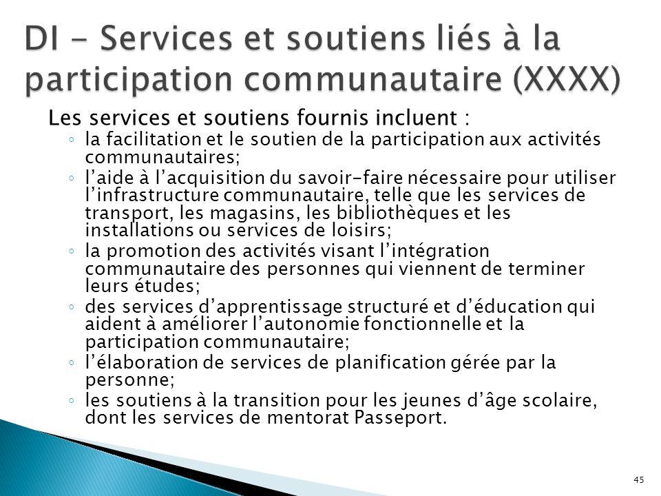 DI - Services et soutiens liés à la participation communautaire (XXXX)