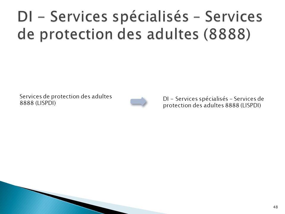DI - Services spécialisés – Services de protection des adultes (8888)