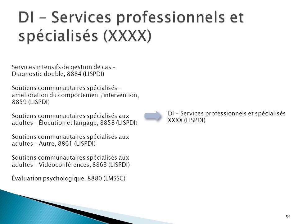 DI – Services professionnels et spécialisés (XXXX)