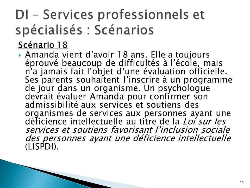 DI – Services professionnels et spécialisés : Scénarios