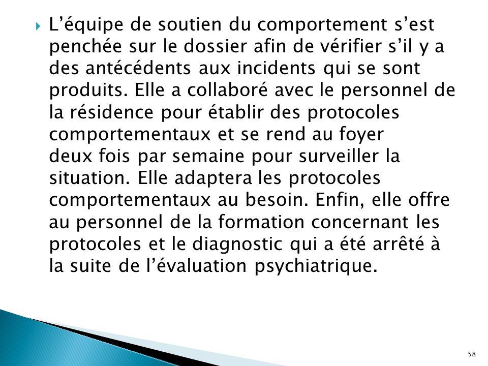 L'équipe de soutien du comportement s'est penchée sur le dossier afin de vérifier s'il y a des antécédents aux incidents qui se sont produits.