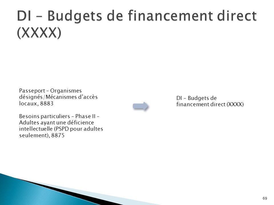 DI – Budgets de financement direct (XXXX)