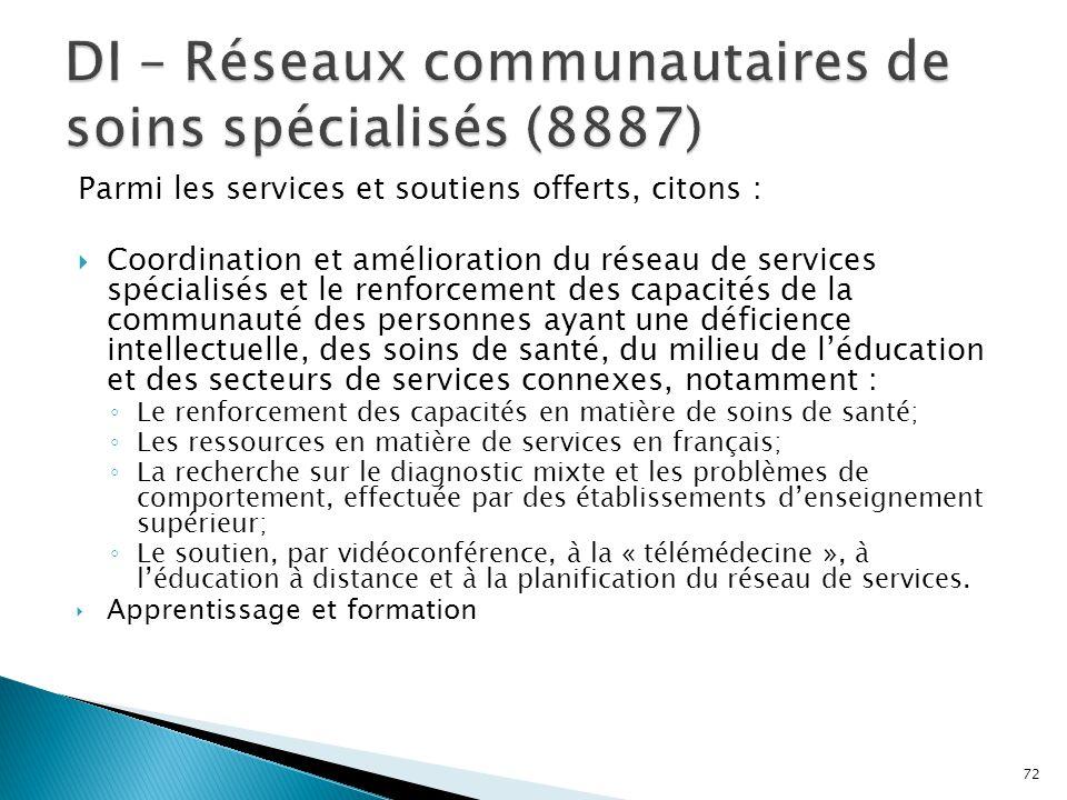 DI – Réseaux communautaires de soins spécialisés (8887)