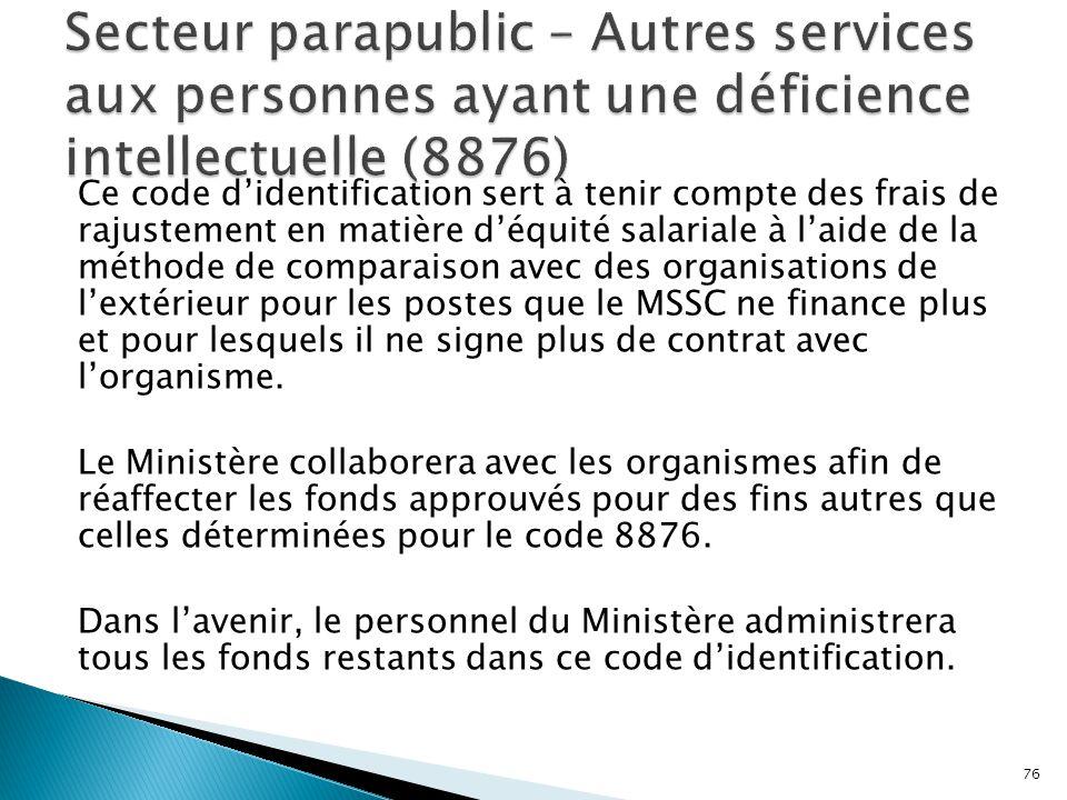 Secteur parapublic – Autres services aux personnes ayant une déficience intellectuelle (8876)